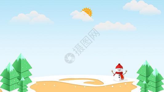冬季晴天积雪矢量图图片