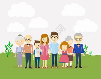 幸福一家人在户外游玩图片