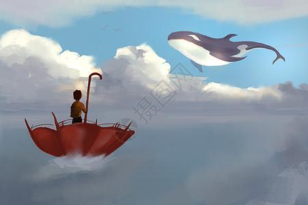 云端上的鲸鱼插画图片