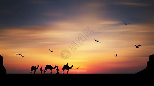 夕阳下的骆驼队剪影图片