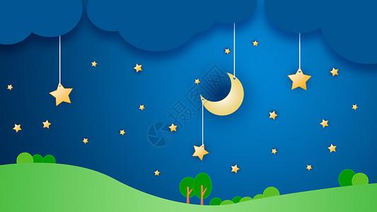 夜晚星空矢量创意插画图片