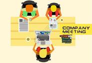 商业插画招聘学习办公室开会三人会议员工会议矢量插画图片