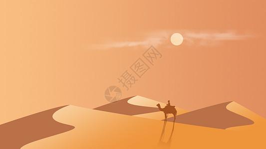 手绘沙漠背景素材图片