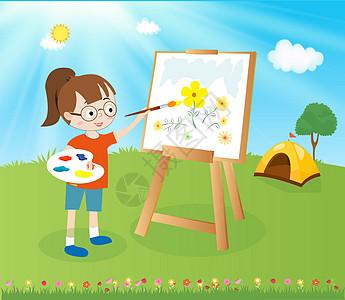 小女孩在画画图片