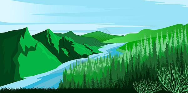手绘蓝天下的山谷与河流图片