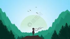 静谧的山谷手绘插画图片