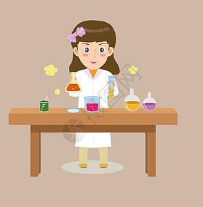 桌上做化学实验的女孩图片