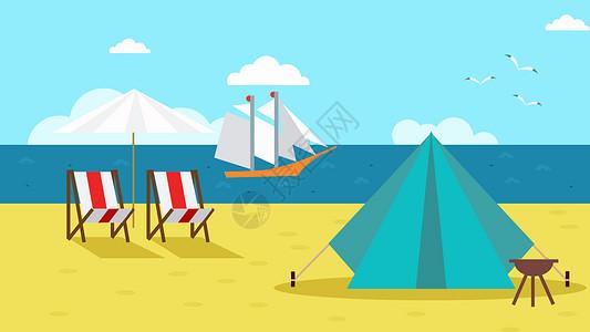 手绘海边沙滩插画图片