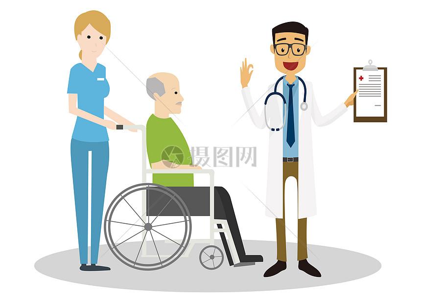 护士推着病人找医生看病图片