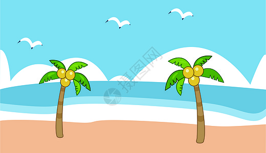 沙滩椰子树海鸥图片