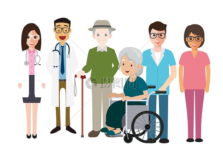 医生病人护士集体合影留恋图片