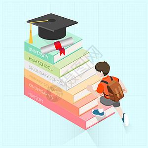 努力学习在书本知识中向上爬的孩子图片