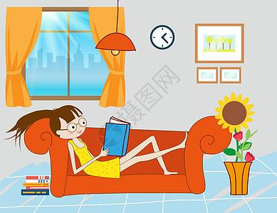 躺在沙发上看书图片