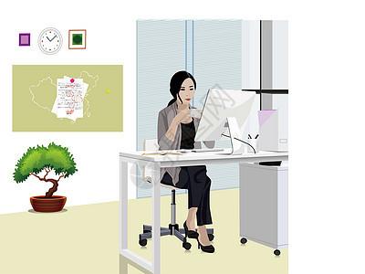 老师坐在办公室图片