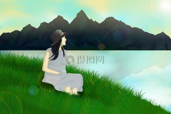 唯美插画 河边看风景的女人.