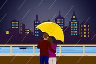七夕城市中相拥的情侣图片