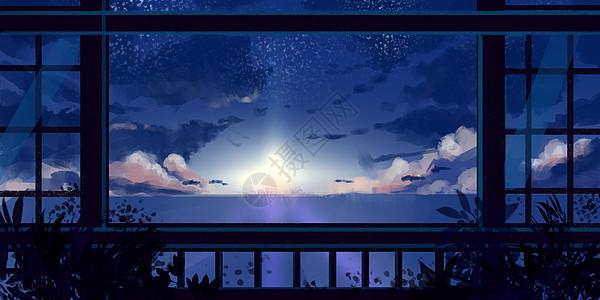 窗外的世界插画图片