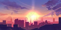 城市夕阳漫画插画图片