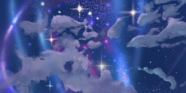 仰望星空插画图片