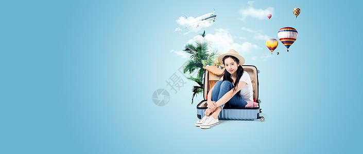 旅行箱上沙滩合成背景图图片