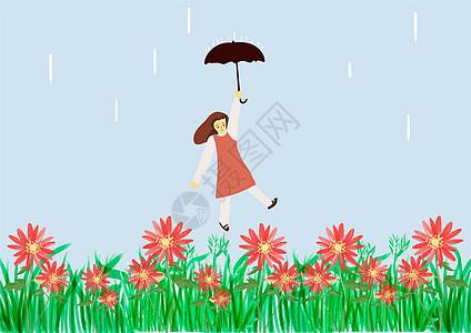花丛中打伞的女孩图片