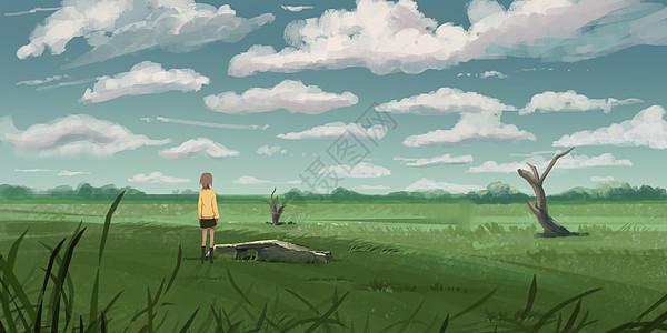 祈愿的少女插画图片