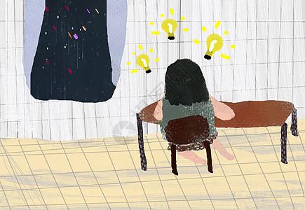 小清新插画女孩在桌前产生灵感图片
