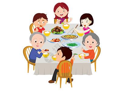 一家人六口人一起吃饭图片