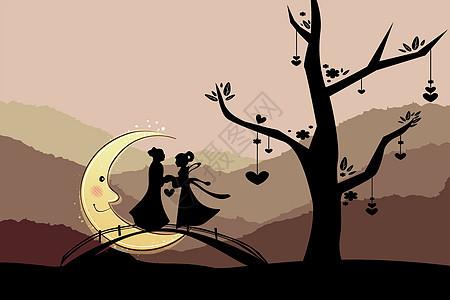 月亮下的牛郎织女图片