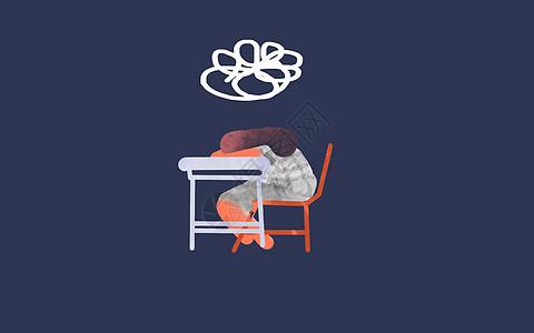 遇到问题趴在桌上的女孩插画背景图图片