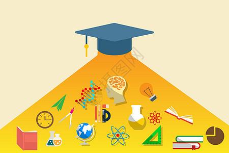 毕业帽下的学习用品图片