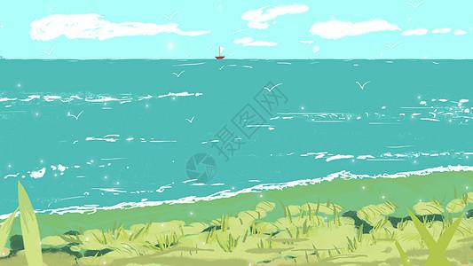 海岸线的美插画图片