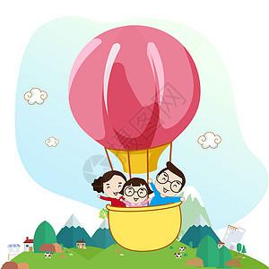 一家三口乘坐热气球图片