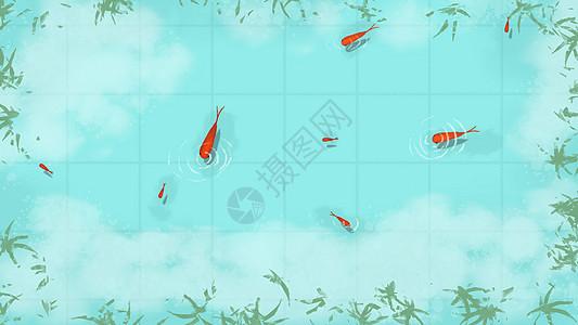 手绘清澈的水面图片