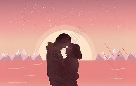 月光下情侣相互依偎图片