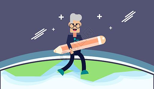 抱着铅笔在地球上空奔跑的男子图片