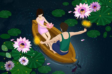 荷花池坐船上放花灯和烟花的情侣图片