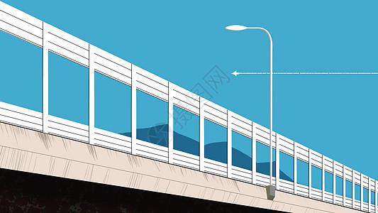 手绘蓝天下的高架桥与路灯图片