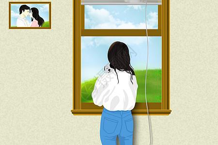 站在窗边看风景的女人图片