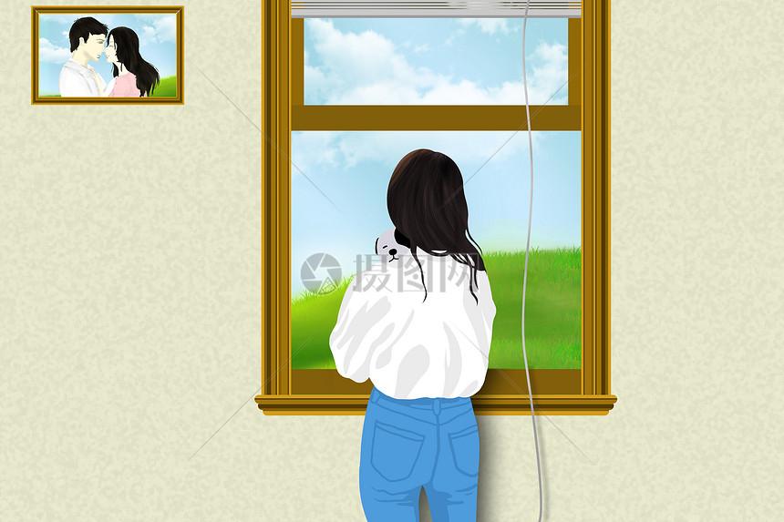 站在窗边看风景的女人