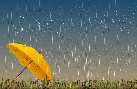 下雨插画图片