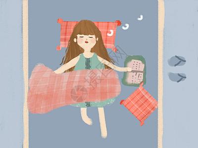 手绘小清新在睡觉的小女孩图片