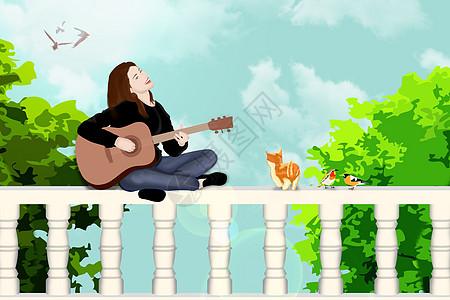 女孩坐在围栏上奏乐图片