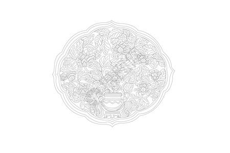 花纹木雕矢量线稿素材图片