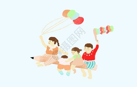 手绘插画一群小孩骑在铅笔上飞行图片