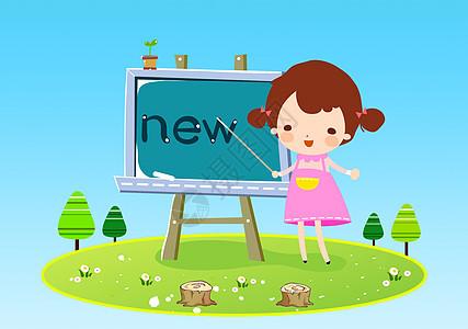 小女孩学英语图片