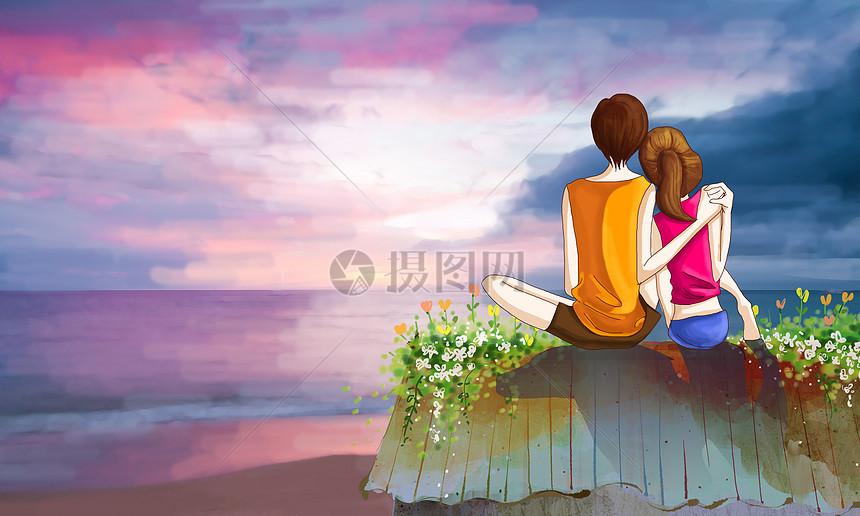 情侣看日出图片