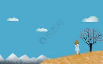 站在山坡上远眺的小女孩图片