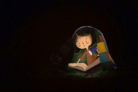 夜里看书的女孩图片
