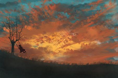 落日夕阳下荡秋千的孩子图片